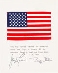 Explorers:Space Exploration, Gemini 12 Flown American Flag Signed by James Lovell, on aCrew-Signed Mat....