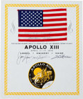 Explorers:Space Exploration, Apollo 13 Flown American Flag on Crew-Signed Certificate, Originally from the Personal Collection of Mission Commander James L...