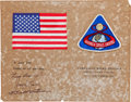 Explorers:Space Exploration, Apollo 8 Flown American Flag and Embroidered Mission Insignia Patch on Crew-Signed Certificate, Originally from the Personal C...