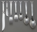 Silver & Vertu:Flatware, AN EIGHTY-FOUR PIECE HECTOR AGUILAR AZTEC PATTERN SILVER FLATWARE SERVICE, Taxco, Mexico, circa 1950. Marks: H... (Total: 84 Items)