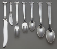 AN EIGHTY-FOUR PIECE HECTOR AGUILAR AZTEC PATTERN SILVER FLATWARE SERVICE, Taxco, Me