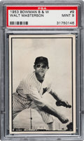"Baseball Cards:Singles (1950-1959), 1953 Bowman Black & White Walt Masterson #9 PSA Mint 9 - TheOne and Only ""Mint!"" ..."