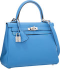 "Luxury Accessories:Bags, Hermes 25cm Blue Paradis Swift Leather Retourne Kelly Bag withPalladium Hardware. Pristine Condition. 10"" Width x 7""..."