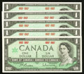 Canadian Currency: , BC-45b $1 1967 Five Examples.. ... (Total: 5 notes)