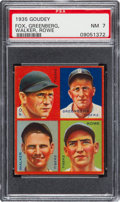 Baseball Cards:Singles (1930-1939), 1935 Goudey 4-In-1 Fox/Greenberg/Rowe/Walker PSA NM 7 - Pop Five,One Higher. ...