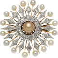 Estate Jewelry:Brooches - Pins, Antique Natural Pearl, Diamond, Platinum-Topped Pink Gold Brooch, Cartier. ... (Total: 2 Items)