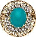 Estate Jewelry:Brooches - Pins, Turquoise, Diamond, Gold Pendant-Brooch. ...