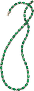 Estate Jewelry:Necklaces, Tsavorite Garnet, Diamond, White Gold Necklace. ...