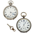 Timepieces:Pocket (pre 1900) , Two Swiss Sterling Silver Pocket Watches. ... (Total: 2 Items)