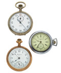Timepieces:Pocket (post 1900), A Lot Of Two Pocket Watches & One Chronograph. ... (Total: 3Items)