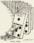 Mainstream Illustration, BILL MAULDIN (American, 1921-2003). Domino Theory, ChicagoSun-Times editorial cartoon, January 17, 1973. Ink andcrayon...
