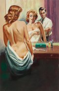 Pulp, Pulp-like, Digests, and Paperback Art, HARRY BARTON (American, 1908-2001). Nude in the Mirror,paperback cover, 1959. Tempera on board. 21.375 x 14 in.(sight)... (Total: 2 Items)