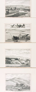 Books:Prints & Leaves, [California.] Group of Four Black and White Engravings of SantaBarbara Ranches. [N.p., n.d.]....