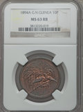 German New Guinea, German New Guinea: German Colony 10 Pfennig 1894-A MS63 Red and Brown NGC,...