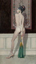 Pin-up and Glamour Art, ROBERT MCGINNIS (American, b. 1926). Nude Posing withTapestry. Oil on board. 18 x 10.5 in. (sight). Signed lowerright...