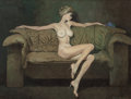 Pin-up and Glamour Art, ROBERT MCGINNIS (American, b. 1926). Lady Violet. Oil onmasonite. 20 x 24 in. (sight). Signed lower right; signed and t...