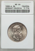 German States:Prussia, German States: Prussia. Friedrich III 2 Mark 1888-A MS64 ANACS,...
