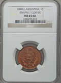 Argentina, Argentina: Republic copper Pattern Centavo 1880-E MS65 Red andBrown NGC,...