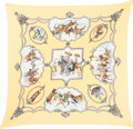 "Luxury Accessories:Accessories, Hermes 90cm Yellow & White ""Les Chevaux des Moghols,"" by Jeande Fougerolle Silk Plisse Scarf. Pristine Condition.36""..."