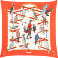 "Luxury Accessories:Accessories, Hermes 90cm Pink & White ""Les Oiseaux du Roy,"" by Caty LathamSilk Plisse Scarf. Pristine Condition. 36"" Width x 36""L..."