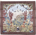 "Luxury Accessories:Accessories, Hermes 90cm Brown & White ""Sichuan,"" by Robert Dallet SilkScarf. Excellent Condition. 36"" Width x 36"" Length. ..."