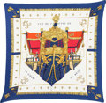 "Luxury Accessories:Accessories, Hermes 90cm Blue & White ""La Reale,"" by Hugo Grygkar SilkPlisse Scarf. Pristine Condition. 36"" Width x 36""Length. ..."