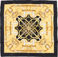 "Luxury Accessories:Accessories, Hermes 90cm Black & Gold ""Eperon d'Or,"" by Henri d'Origny SilkScarf. Excellent to Pristine Condition. 36"" Width x36""..."