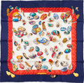 """Luxury Accessories:Accessories, Hermes 90cm Blue & Red """"Couvee d'Hermes,"""" by Caty Latham SilkScarf. Excellent Condition. 36"""" Width x 36"""" Length...."""