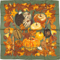 "Luxury Accessories:Accessories, Hermes 90cm Green & Brown ""Citrouilles et Coloquintes,"" byValerie Dawlat-Dumoulin Silk Scarf. Excellent to PristineCondi..."