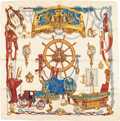 "Luxury Accessories:Accessories, Hermes 90cm Beige & Burgundy ""Musee,"" by Philippe Ledoux SilkScarf. Excellent Condition. 36"" Width x 36"" Length...."