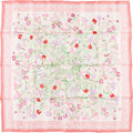 "Luxury Accessories:Accessories, Hermes 90cm Pink & Green ""Oeillets Sauvages et AutresCaryolphillees,"" by Niki Goulandris Silk Scarf. Excellent toPristin..."