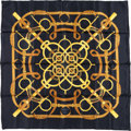 "Luxury Accessories:Accessories, Hermes 90cm Black & Gold ""Eperon d'Or,"" by Henri d'Origny SilkScarf. Excellent Condition. 36"" Width x 36"" Length...."