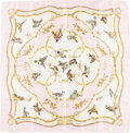"Luxury Accessories:Accessories, Hermes 90cm Pink & White ""La Cle des Champs,"" by Françoise Heron Silk Scarf. Good Condition. 36"" Width x 36"" Length..."