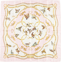 "Hermes 90cm Pink & White ""La Cle des Champs,"" by Françoise Heron Silk Scarf Good Condition 36&q..."