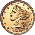 Proof Liberty Half Eagles, 1900 $5 PR65 Ultra Cameo NGC. Gold CAC....