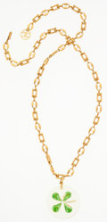 "Luxury Accessories:Accessories, Chanel Gold Four Leaf Clover Necklace. Very Good to ExcellentCondition. 14"" Length. ..."