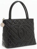 "Luxury Accessories:Bags, Chanel Black Quilted Caviar Leather Medallion Tote Bag with SilverHardware . Very Good Condition . 12"" Width x 10""He..."