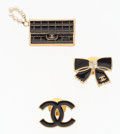 "Luxury Accessories:Accessories, Chanel Set of Three; Bow, CC logo Brooches & Chanel Handbag.Excellent Condition. .75"" Width x .5"" Height ..75"" W..."