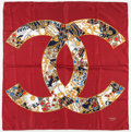 "Luxury Accessories:Accessories, Chanel Burgundy & Gold Silk Scarf. Very Good . 32"" Width x 32"" Length. ..."