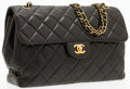 "Luxury Accessories:Accessories, Chanel Quilted Black Lambskin Leather Jumbo Single Flap Bag withGold Hardware. Very Good Condition. 11.25"" Width x8""..."