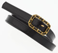 "Luxury Accessories:Accessories, Chanel Gold Chain & Black Leather Belt. Good Condition..75 Width x 30"" Length . ..."
