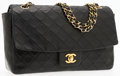 "Luxury Accessories:Accessories, Chanel Black Quilted Lambskin Leather Small Single Flap Bag withGold Hardware. Good Condition. 10.5"" Width x 6.5""Hei..."