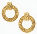 "Art Glass:Daum, Chanel Gold Filigree Hoop Earrings. Very Good to ExcellentCondition. 2"" Width x 2.5"" Height. ..."