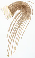 """Luxury Accessories:Accessories, Chanel Gold Chain Fringe Hair Barrette. Very Good Condition. 2.25"""" Width x 11"""" Height. ..."""
