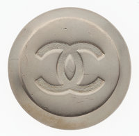 "Chanel Pewter CC Brooch Good Condition 1.75"" Width x 1.75"" Height"
