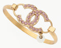 "Luxury Accessories:Accessories, Chanel Gold & Pink Rhinestone CC Bracelet . Very GoodCondition. 2"" Width. ..."