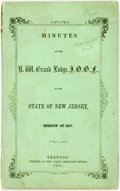 Books:Americana & American History, Odd Fellows: MINUTES OF THE R. W. GRAND LODGE, I.O.O.F., OF THESTATE OF NEW JERSEY, SESSION OF 1857. Trenton: Printed at th...