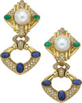 Estate Jewelry:Earrings, Mabé Pearl, Diamond, Multi-Stone, Gold Earrings. ...