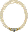 Estate Jewelry:Necklaces, Sapphire, Diamond, Cultured Pearl, Gold Necklace, Salavetti. ...