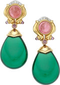 Estate Jewelry:Earrings, Pink Tourmaline, Quartz, Diamond, Gold Earrings. ...